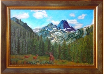 Rila mountain - Maliovitsa and deer - Oil painting