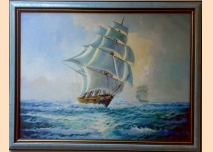 Sea landscape, sailing ships