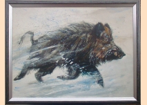 Wild boar, painting