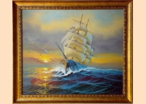 Sea landscape, sailing ship