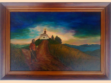 ''Road to the Temple'' - Rhodope mountains, oil painting