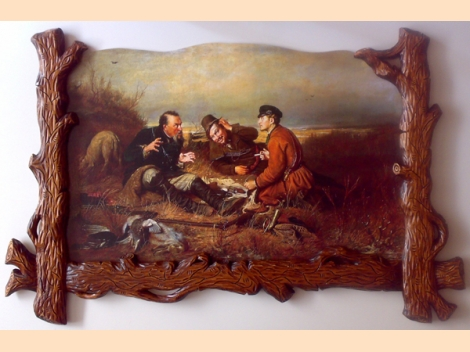 ''Hunters at rest'', carved frame, 120cm / 80cm