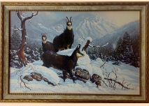 Chamois, winter - painting