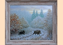 Wild boar in the Forest, 102cm/90cm