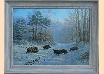 Wild boar, winter - 2, 105cm / 85cm