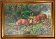 Fighting Deer in the Forest, painting, 100cm / 73cm