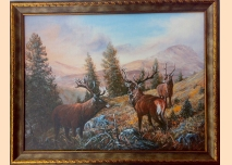 Red Deer, Mountain, painting