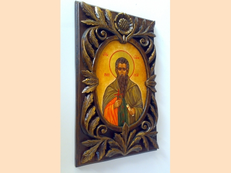 Icon of St. Ivan Rilski, tempera paints, wood carving