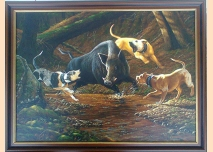 Wild boar with dogs - 1