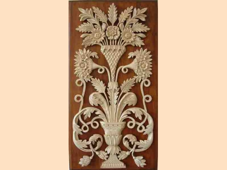 Wall-panel – vase with flowers – wooden carving