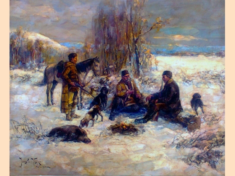 Yaroslav Veshin, After Hunting, Painting