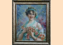 Portrait of a young woman with roses, Impressionism