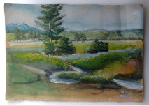 Old painting - landscape, watercolor, 1975