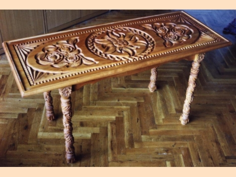 Unique coffee table with wooden carving