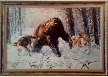 ''Fighting'' - Bear with Dogs, 87cm / 61cm