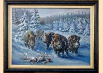 Wild boars, winter - 1, painting, 102cm/82cm
